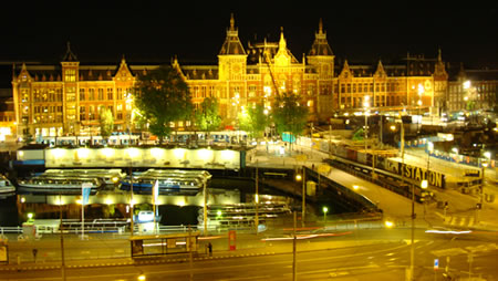 Central Train Station view from Victoria Hotel Amsterdam Holland