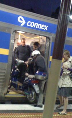 Motorbike on Connex Train
