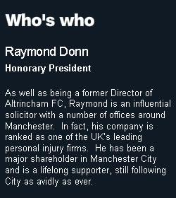 Raymond Donn Manchester City Football Club